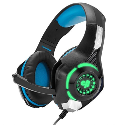 (Renewed) Cosmic Byte GS420 Headphones with Mic, RGB LED lights and Audio Splitter for PS4, Xbox One, Laptop, PC, iPhone and Android Phones (Black/Blue)