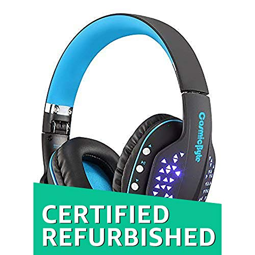 (Renewed) Cosmic Byte Aura B3506 V2 Bluetooth Headphone with Mic (Black/Blue)