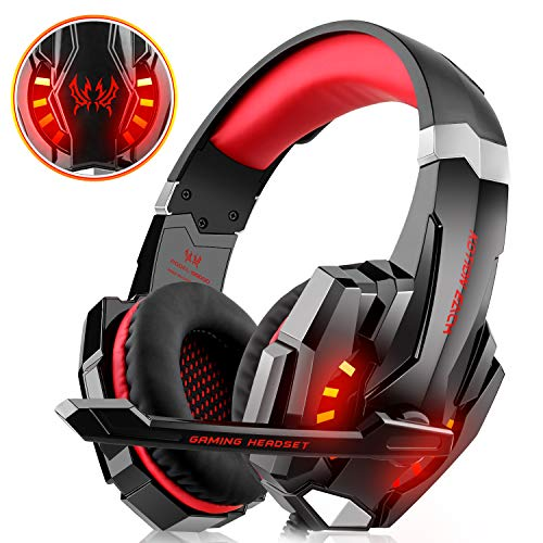 WILLNORN Gaming Headset Xbox One, PS4, PC Controller Noise Cancelling Over Ear Headphones Mic, LED Light, Bass Surround Laptop Mac Games