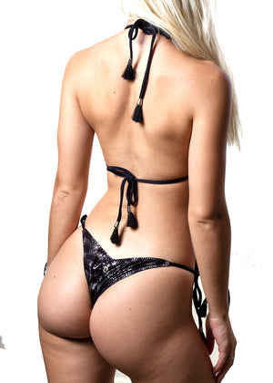 Andressa black silver snakeprint tie-side bikini bottom