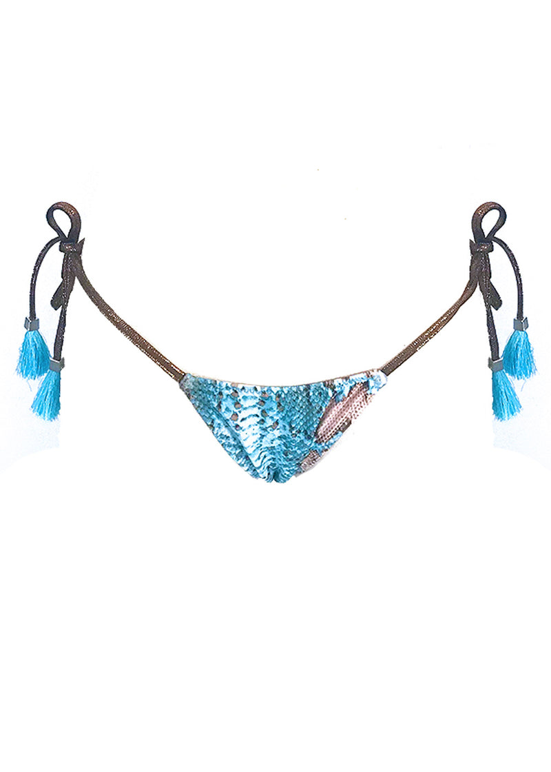 Andressa turquoise snakeprint tie-side bikini bottom