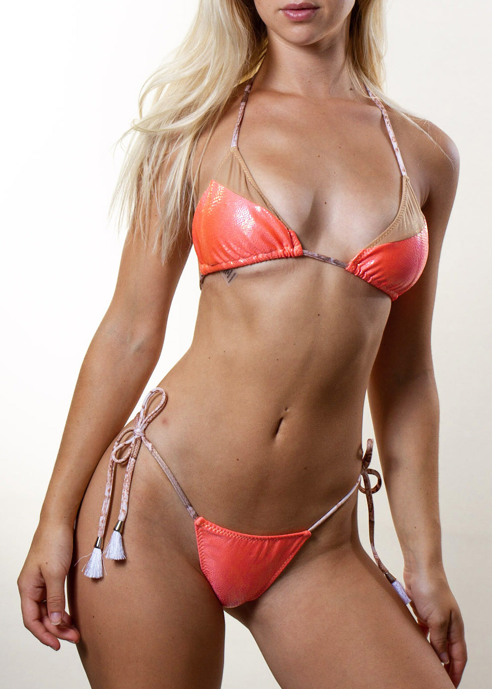 Andressa coral embossed gold mesh triangle bikini top