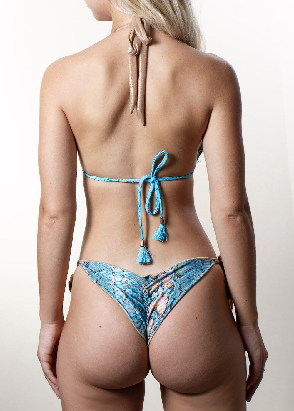 Georgia turquoise snakeprint gold mesh triangle side-tie bikini bottom