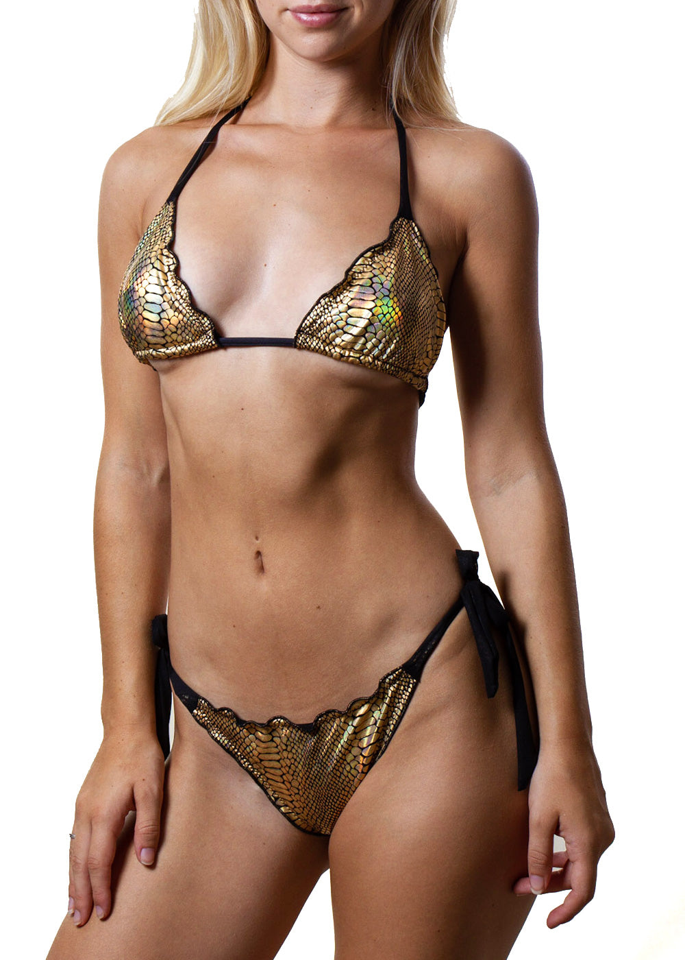 Georgia gold snakeprint black mesh triangle bikini top