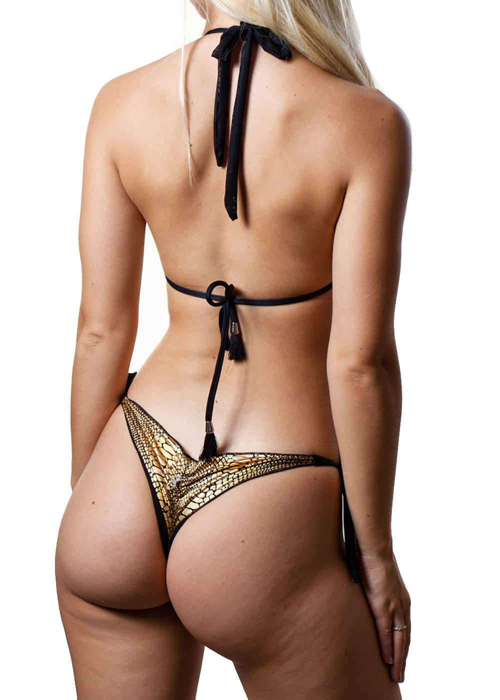 Georgia gold snakeprint back mesh triangle side-tie bikini bottom