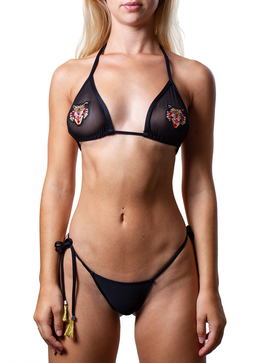 Maanu sheer mesh embroidered black bikini top