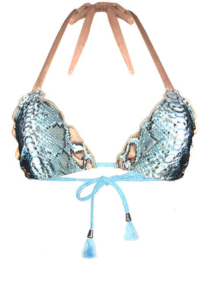 Georgia turquoise snakeprint gold mesh triangle bikini top