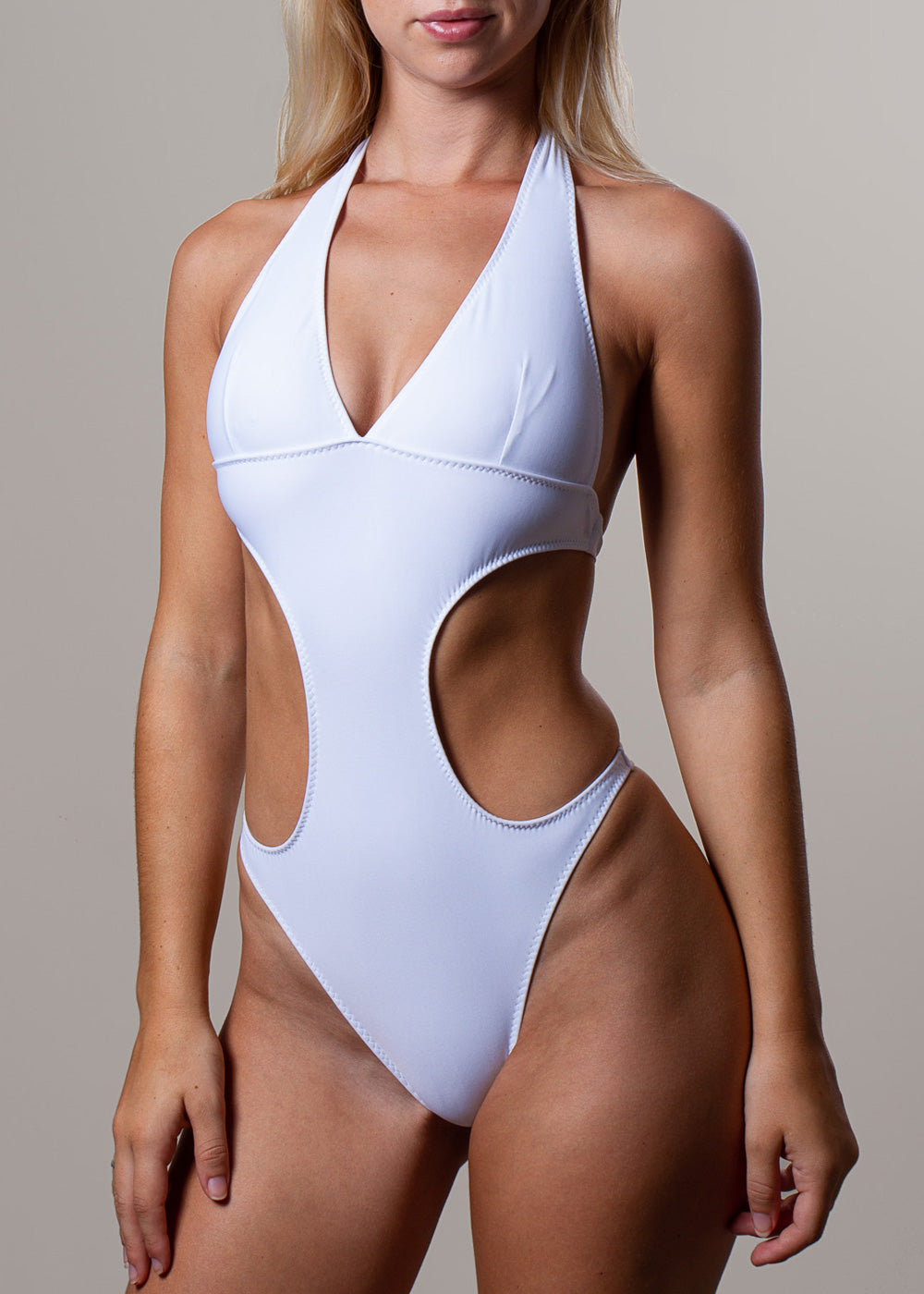 Alicia One Piece Cut-Out White Swimsuit