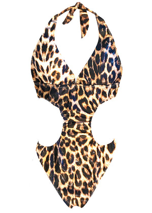 Stunning Brazilian style high leg luxurious swimsuit in lycra with cut out panels. Perfect for poolside or party.