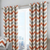 Chevron - 100% Cotton Lined Eyelet Curtains in Teracotta - by Fusion