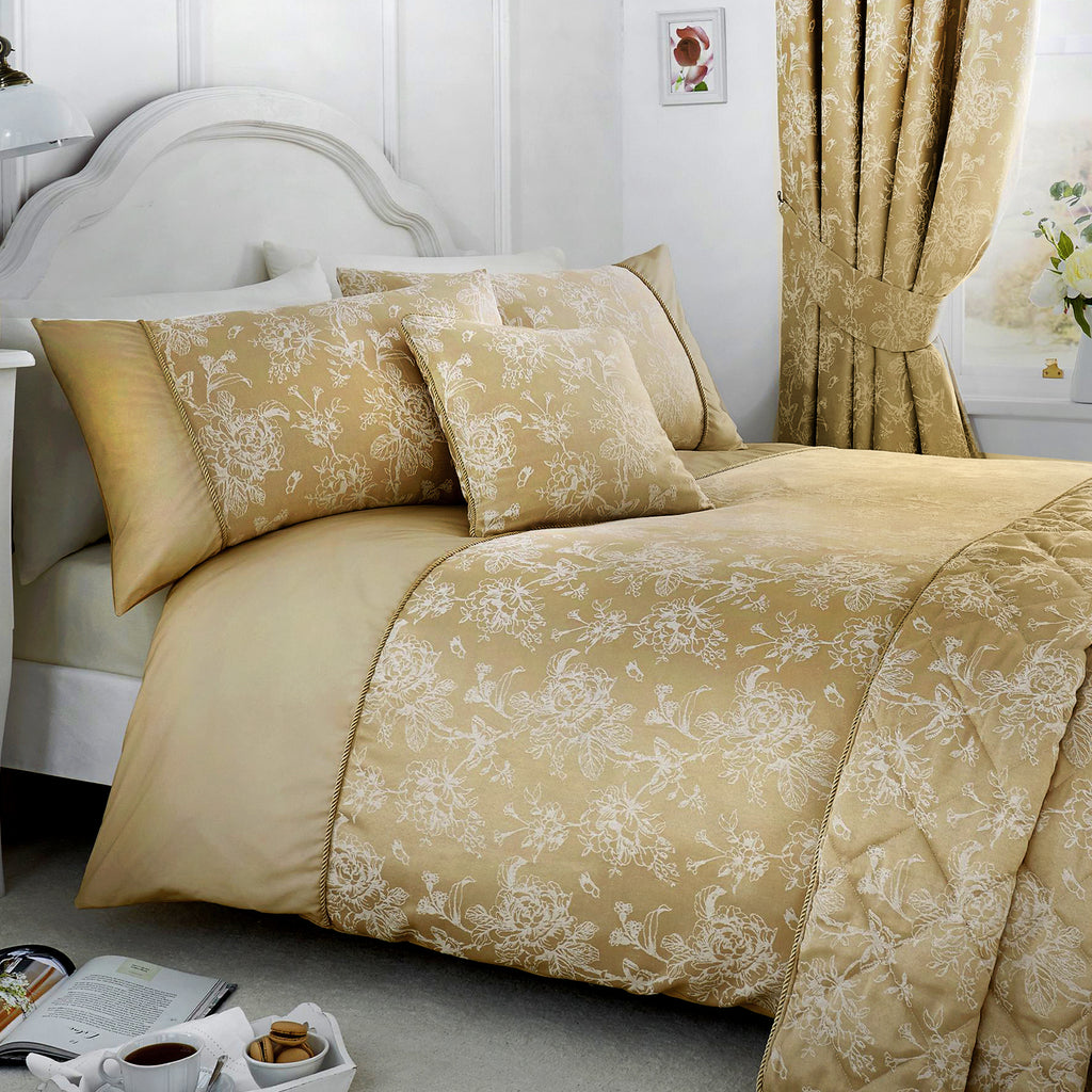 Jasmine - Damask Easy Care Bedding Set, Curtains & Cushions in Champagne - by Serene