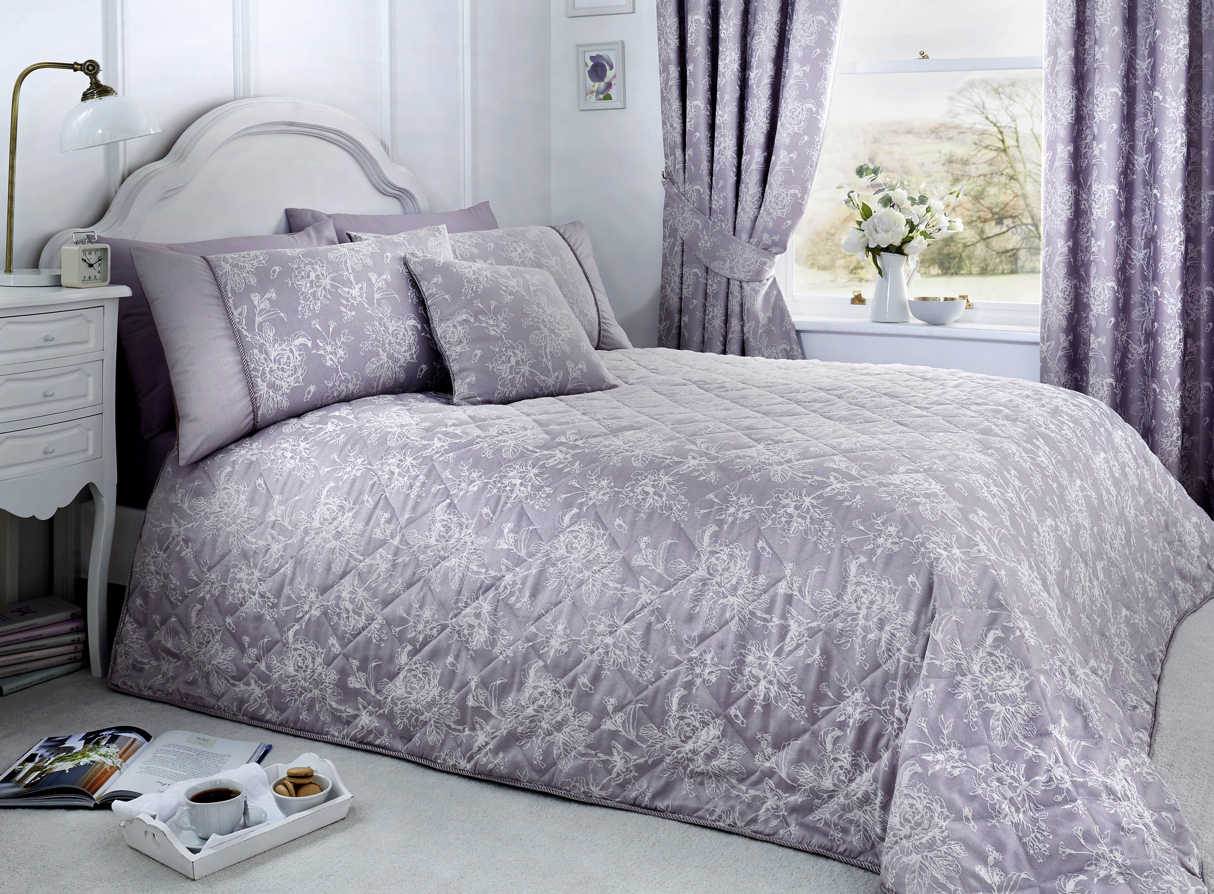 Jasmine - Damask Easy Care Bedding Set, Curtains & Cushions in Lavender - by D&D Woven
