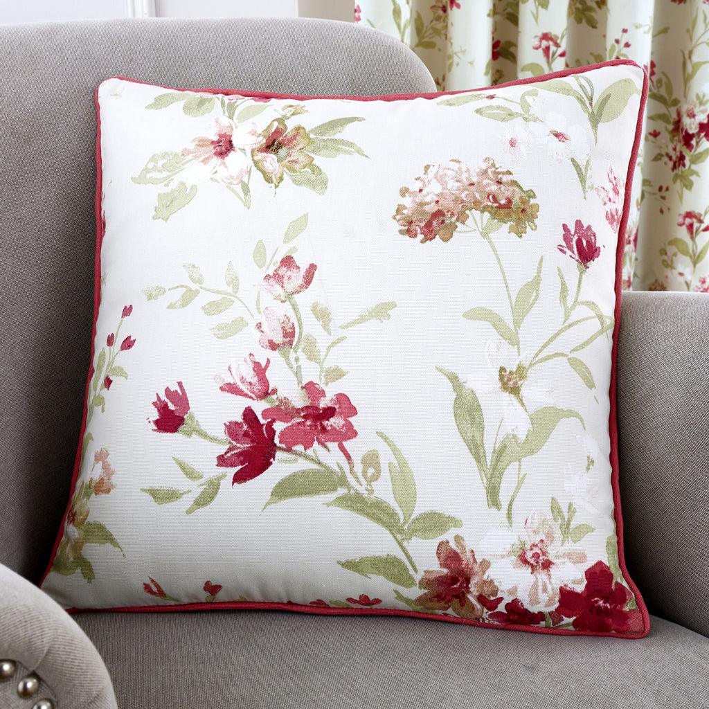 Jeannie - Filled Red Square Cushion - by Fusion