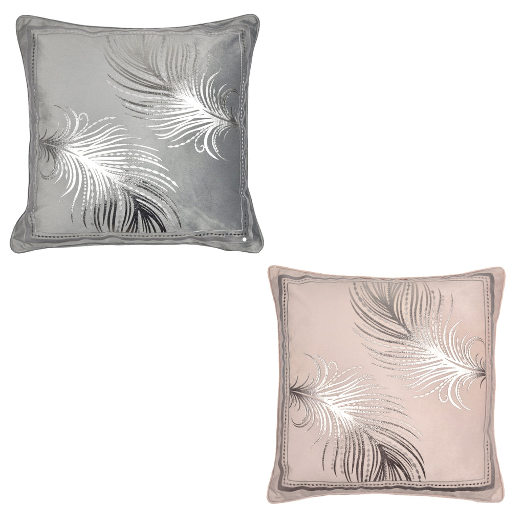 Eva - Embroidered Feather Filled Cushion - By Caprice Home