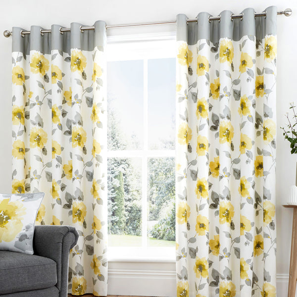 Adriana - 100% Cotton Lined Eyelet Curtains in Ochre - by Fusion