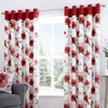 Adriana - 100% Cotton Lined Eyelet Curtains in Red- by Fusion
