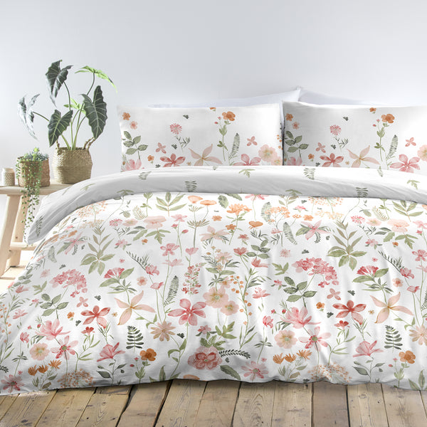 Aimee - Easy Care Duvet Cover Set in Coral - by Dreams & Drapes