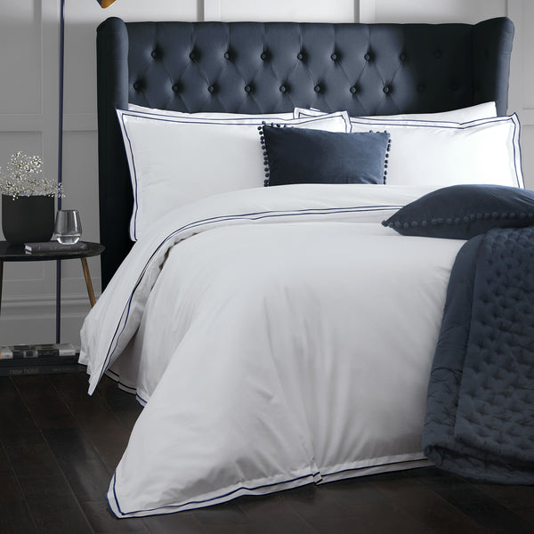 Alden Navy - 100% Cotton Duvet Cover Set - by Appletree Signature