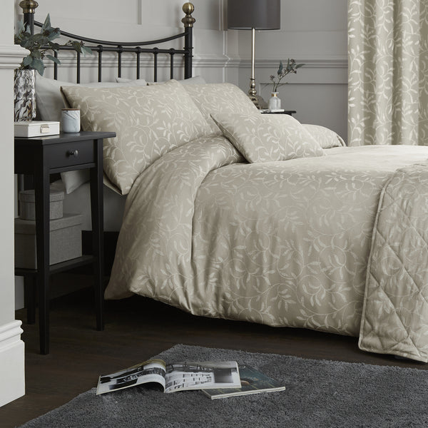 Alexa - 142 TC Jacquard Duvet Cover Set in Linen - by Serene