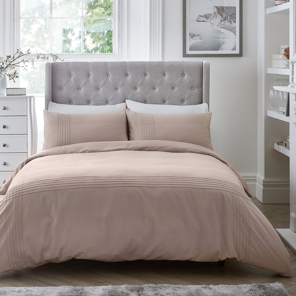 Amalfi - Easy Care Pintuck Duvet Cover Set in Blush - by Serene