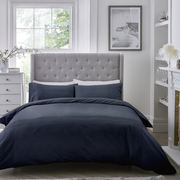 Amalfi - Easy Care Pintuck Duvet Cover Set in Navy - by Serene