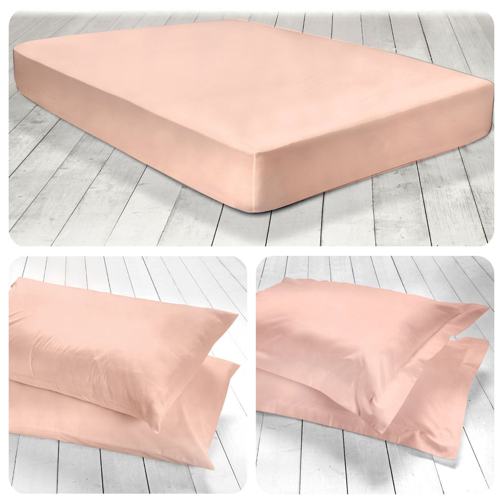 Plain Dye 100% Cotton 28cm Fitted Sheets & Pillowcases -  in Blush Pink by Appletree