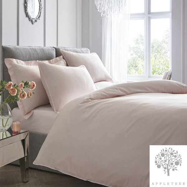 Plain Dye 100% Cotton Duvet Set - Blush with White Contrast Piping by Appletree Signature