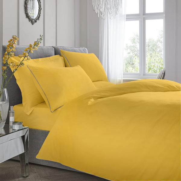 Plain Dye - 200TC Piped Duvet Cover Set - in Ochre by Appletree Signature