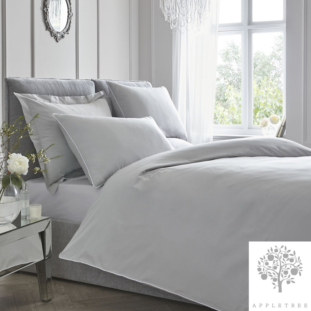 Plain Dye 100% Cotton Duvet Set - Silver with White Contrast Piping by Appletree Signature