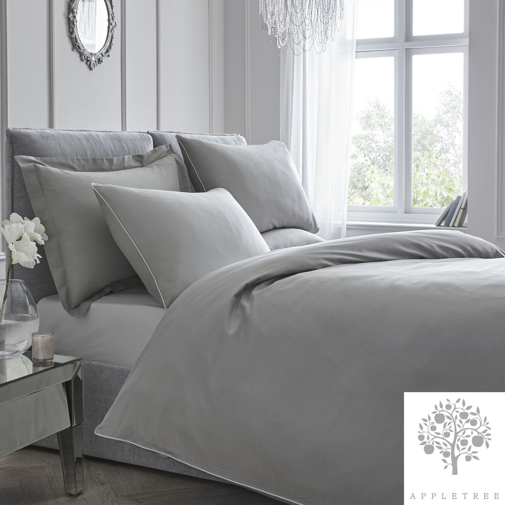 Plain Dye 100% Cotton Duvet Set - Slate with Silver Contrast Piping by Appletree Signature