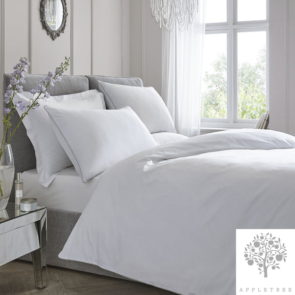 Plain Dye 100% Cotton Duvet Set - White with Silver Contrast Piping by Appletree Signature
