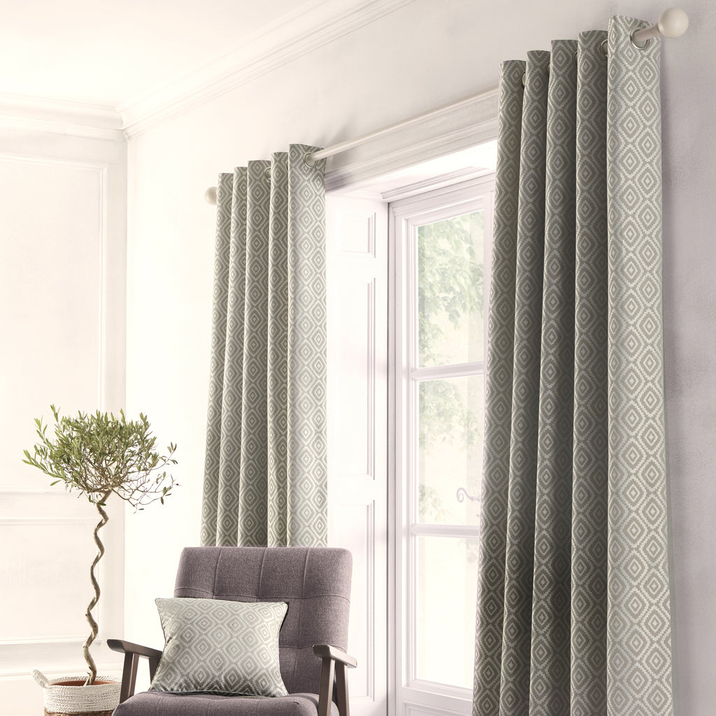 Asha - Jacquard Pair of Eyelet Curtains in Grey - By Appletree Loft