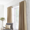 Asha - Jacquard Pair of Eyelet Curtains in Ochre - By Appletree Loft