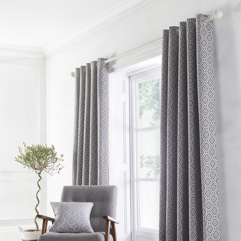 Asha - Jacquard Pair of Eyelet Curtains in Slate - By Appletree Loft