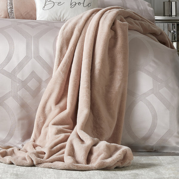 Ava - Faux Fur Throw in Blush - By Caprice Home