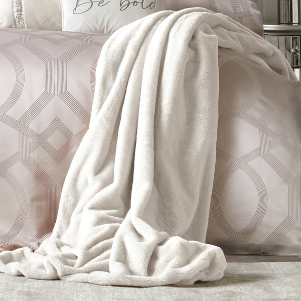 Ava - Faux Fur Throw in Ivory - By Caprice Home