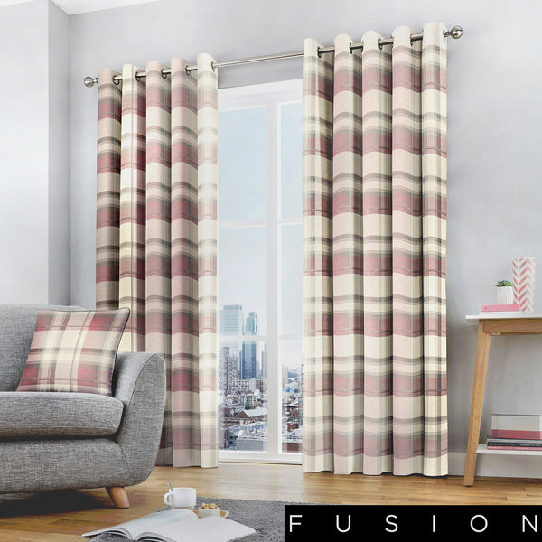 Balmoral Check - 100% Cotton Lined Eyelet Curtains in Blush- by Fusion