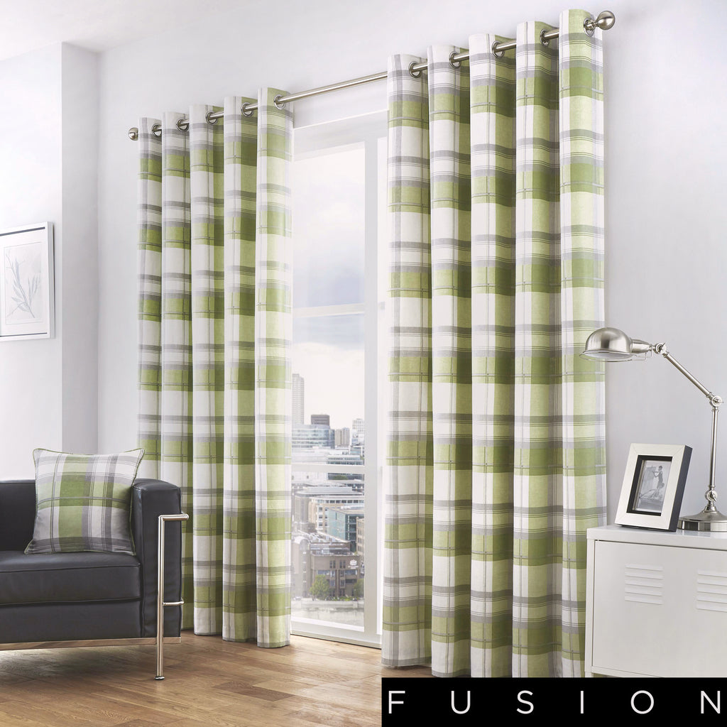 Balmoral Check - 100% Cotton Lined Eyelet Curtains in Green - by Fusion