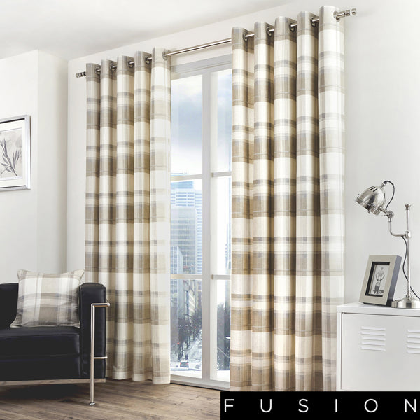 Balmoral Check - 100% Cotton Lined Eyelet Curtains in Natural - by Fusion