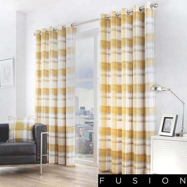 Balmoral Check - 100% Cotton Lined Eyelet Curtains in Ochre - by Fusion