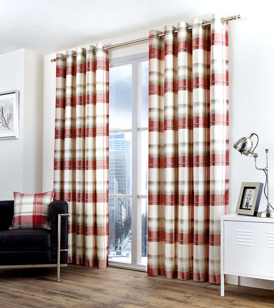 Balmoral Check - 100% Cotton Lined Eyelet Curtains in Ruby - by Fusion