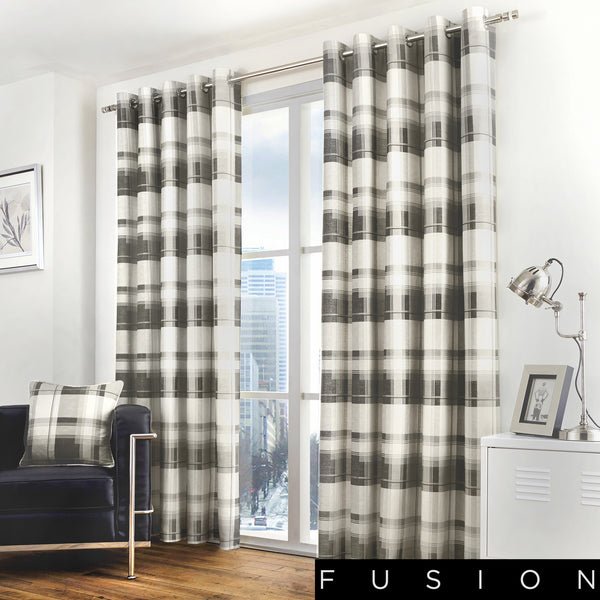 Balmoral Check - 100% Cotton Lined Eyelet Curtains in Slate - by Fusion