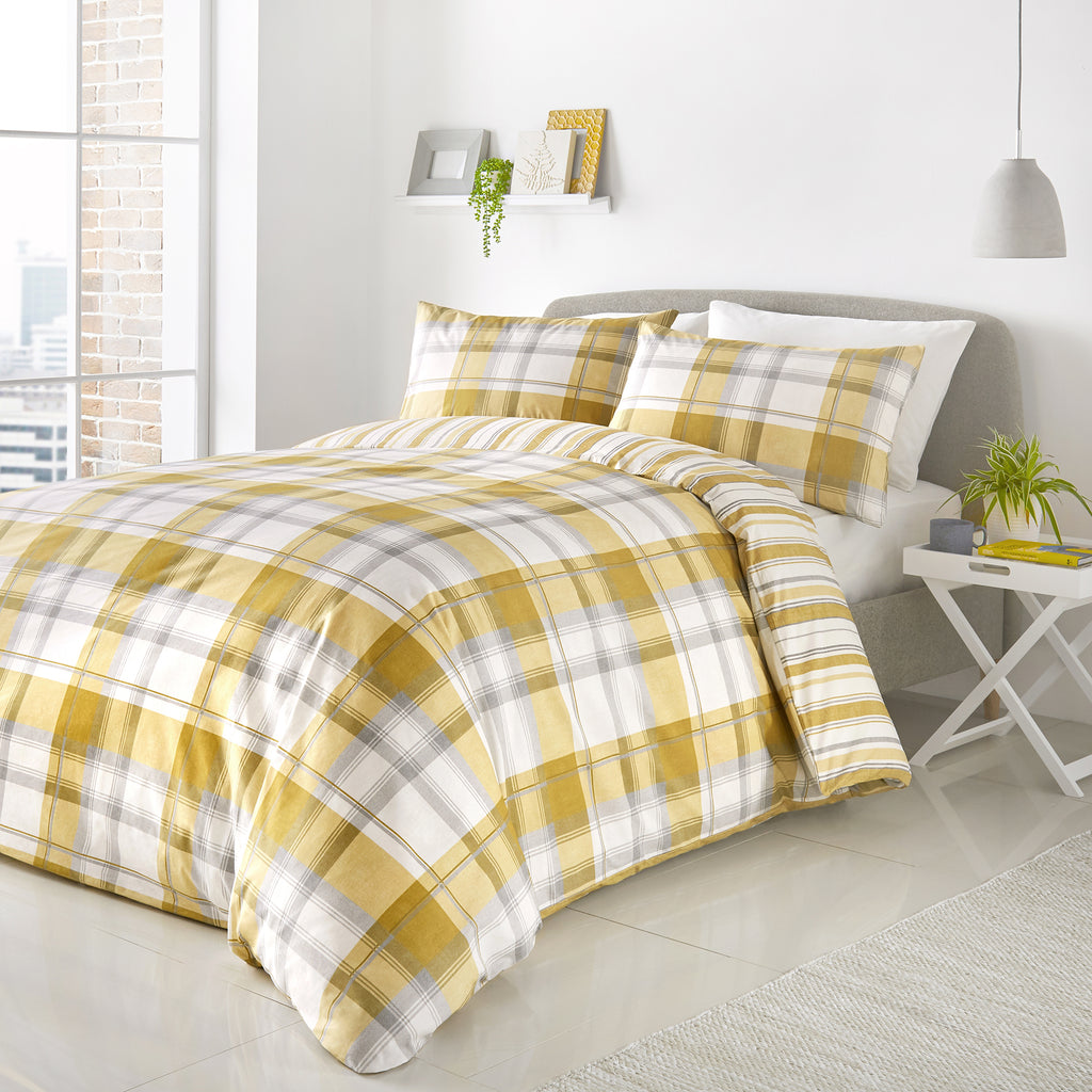 Balmoral Ochre- Easy Care Duvet Cover Set - By Fusion