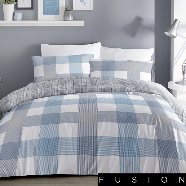 Barcelona - Blue Easy Care Duvet Cover Set - By Fusion