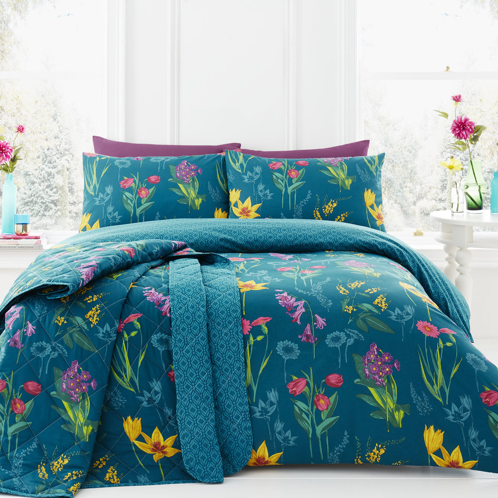 Ingrid Teal - Easy Care Bedding - by Dreams & Drapes
