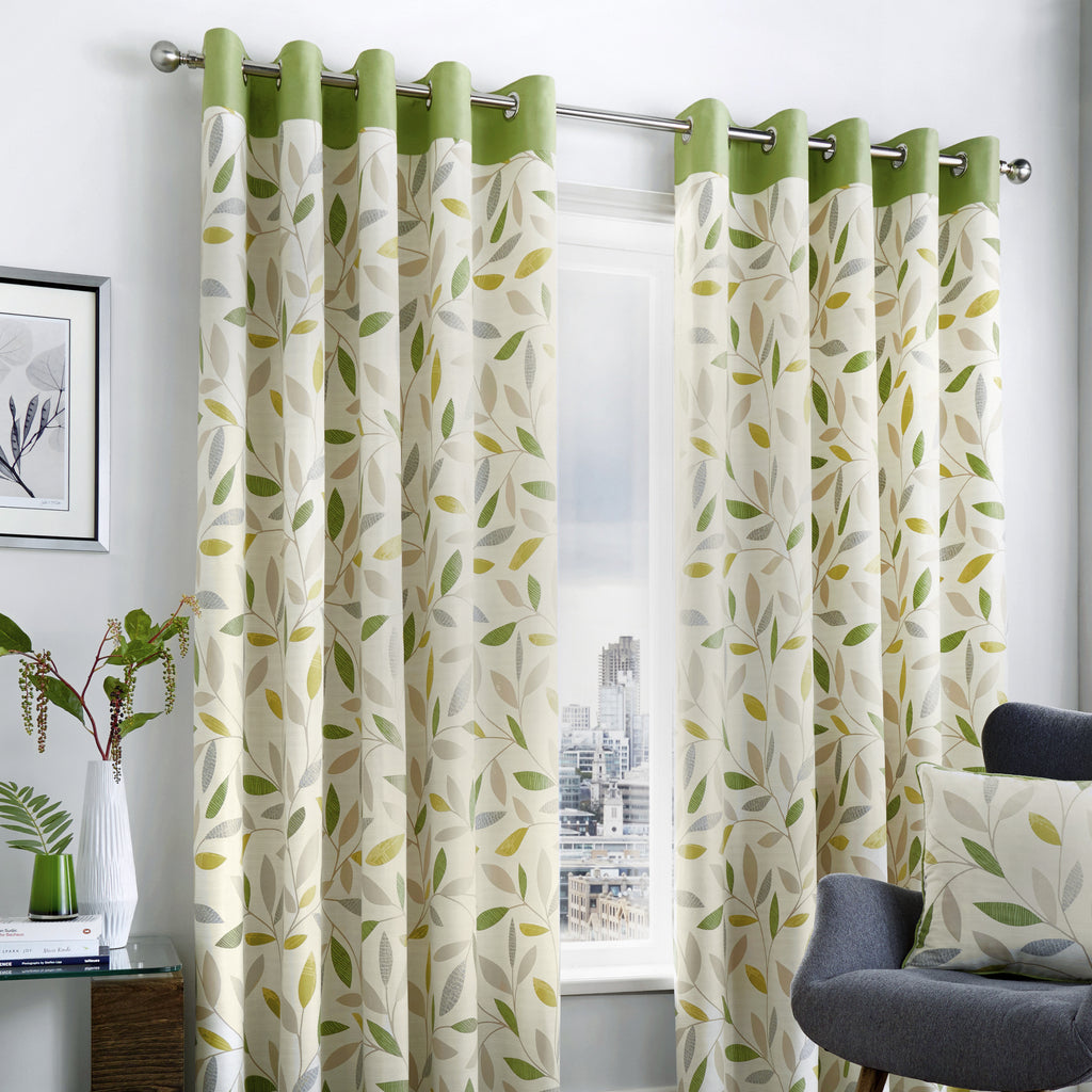 Beechwood - 100% Cotton Lined Eyelet Curtains in Green - by Fusion