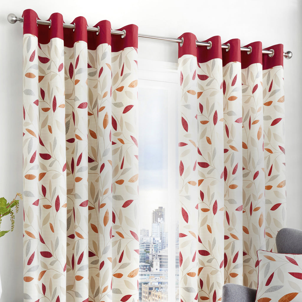 Beechwood - 100% Cotton Lined Eyelet Curtains in Red - by Fusion