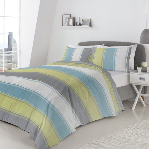 Betley Green - Easy Care Duvet Cover Set - By Fusion