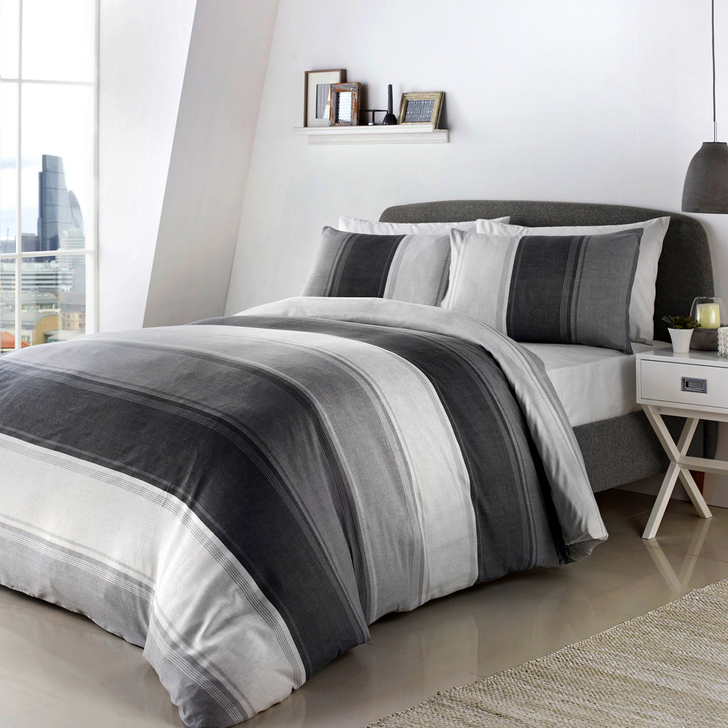 Betley Grey - Easy Care Duvet Cover Set - By Fusion