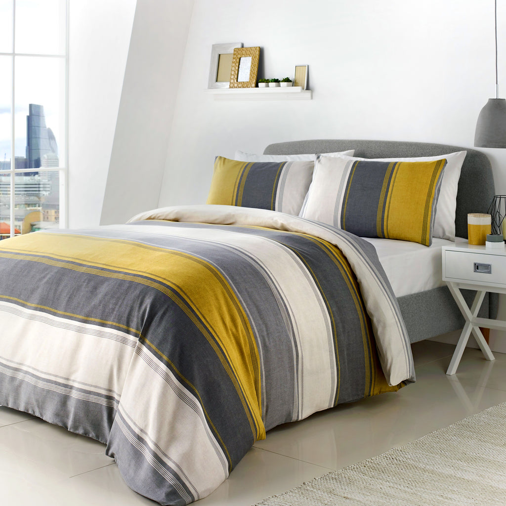 Betley Ochre - Easy Care Duvet Cover Set - By Fusion
